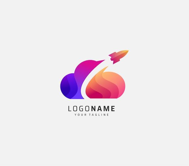 Cloud and rocket gradient logo design premium