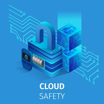 Cloud safety square banner. lock and key storage.