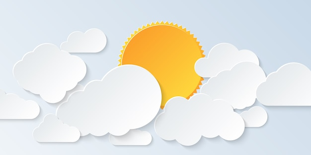 Cloud scape. blue sky with clouds and sun in paper art style.