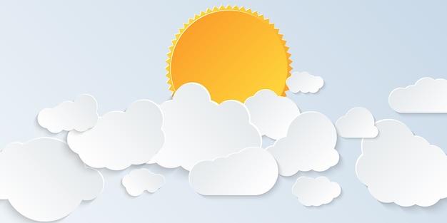 クラウドスケープ。ペーパーアートスタイルで雲と太陽と明るい空。図。