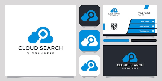 クラウド検索ロゴアイコンシンボルテンプレートロゴと名刺
