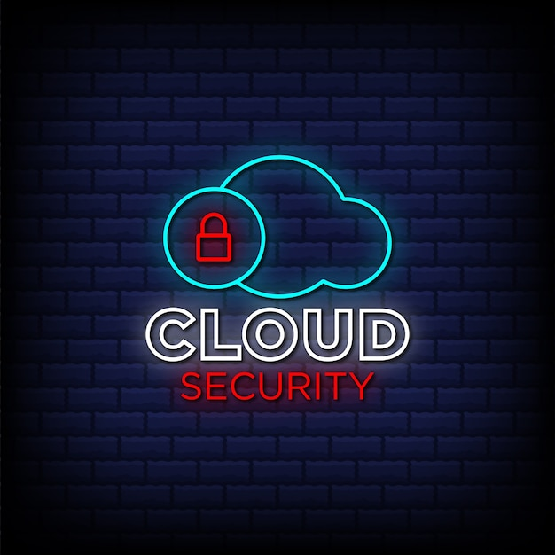 Cloud security neon sign style text