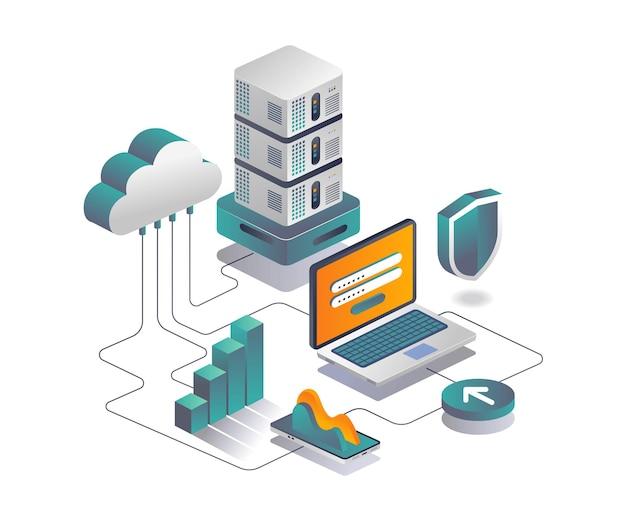 아이소메트릭 디자인의 클라우드 서버 데이터 보안 분석