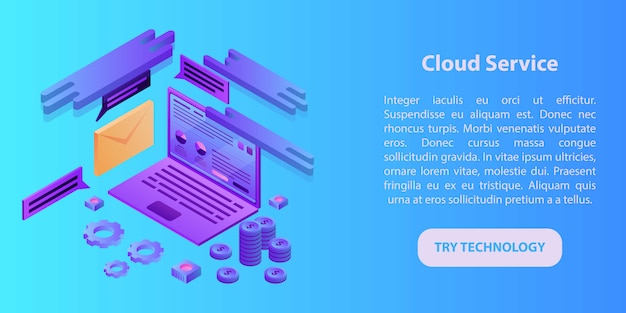 Cloud service concept banner, isometric style