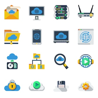 Cloud service flat color icons