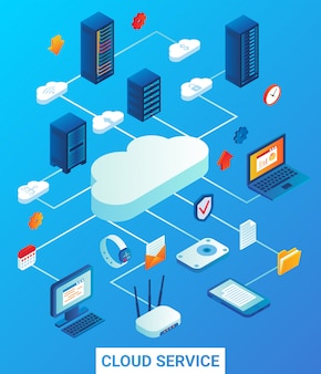 Cloud service flat isometric