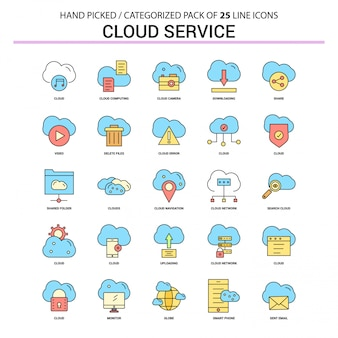 Cloud service flat line icon set