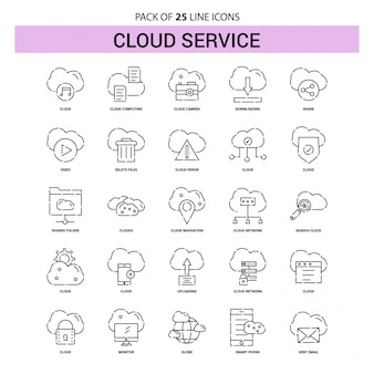 Cloud service line icon set - 25 dashed outline style