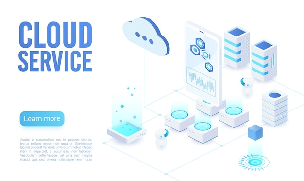 Cloud service soft light landing page isometric  template. programmer synchronizing personal information. database neon storage, data encryption and protection. cloud computing website homepage