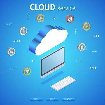 Cloud service square banner. computing technology.