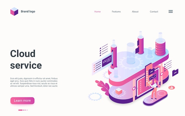 Cloud service storage concept isometric landing page d computing data development