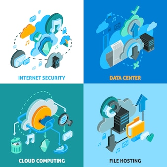 Cloud services concept icons set