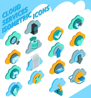 Set di icone servizi cloud