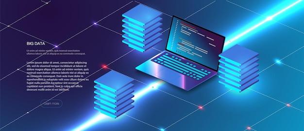 클라우드 서비스 아이소메트릭 구성입니다. 빅 데이터 분석 스토리지 비즈니스 인텔리전스 시스템 현대 하이테크 아이소메트릭 배경은 점선으로 연결되어 있습니다. 미래의 스테이션, 서버룸 랙.