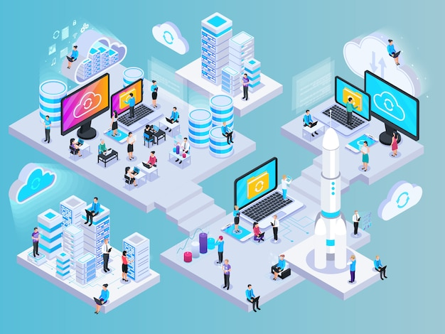 Cloud services isometric composition with conceptual images of network elements storage capsules and small human characters vector illustration