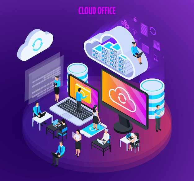 Cloud services isometric composition with small figures of people with computer screens