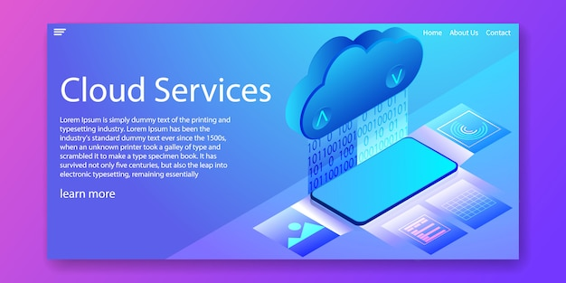 Cloud services technology isometric web template
