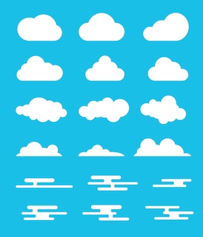 Cloud set collection with modern or flat style design with various option