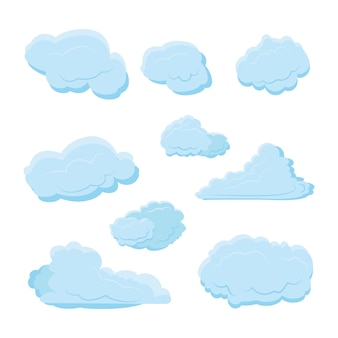 Cloud set collection with various shape and blue color with modern flat style