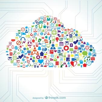 아이콘 벡터로 채워진 구름 모양