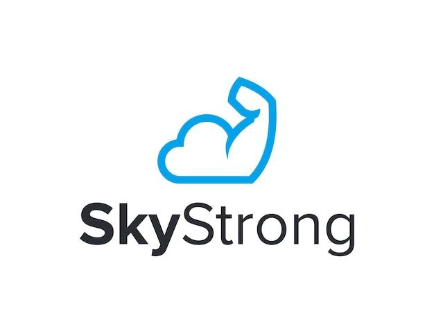 Облако небо и сильный контур руки простой гладкий креативный геометрический современный дизайн логотипа