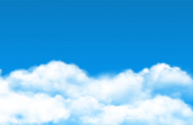 Cloud sky background. realistic white clouds on blue sky