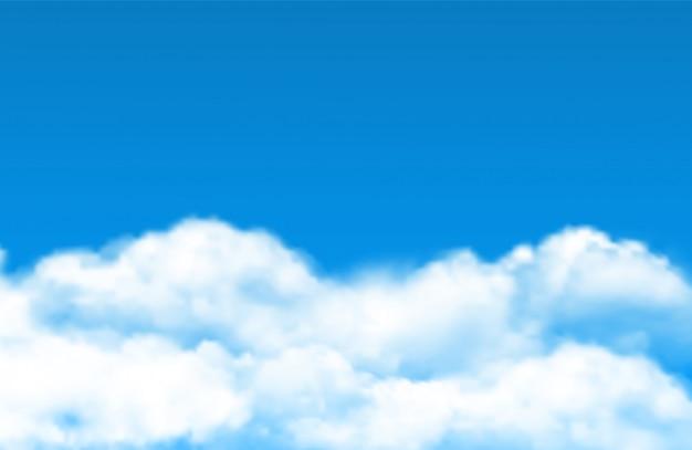 Облако фон неба. реалистичные белые облака на голубом небе
