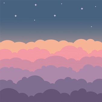 Cloud sky beautiful cartoon background. night sky with colorful clouds flat