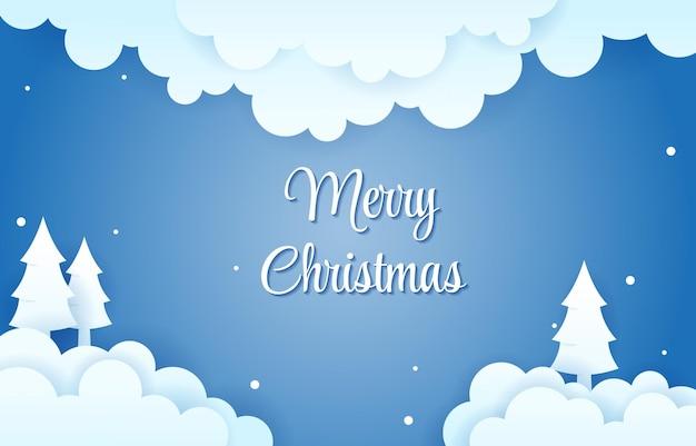 Облака небо снег зима рождество papercut стиль бумаги вырезать иллюстрации