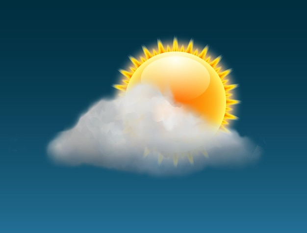 Cloud sky vector weather backgrund. sun illustration warm day sunny icon forecast banner.