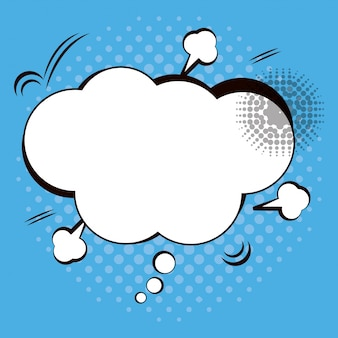 Cloud speech pop art blue background