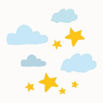 Design piatto vettoriale adesivo nuvola e stelle