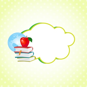 Cloud sticker decorated with school supplies