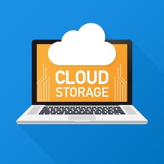 Cloud storage. cloud backup concept. low poly design illustration. technology.