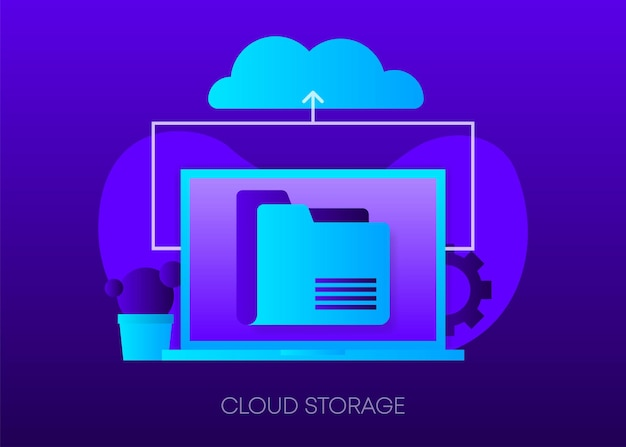 Cloud storage concept on dark gradient background laptop with envelope open email and message