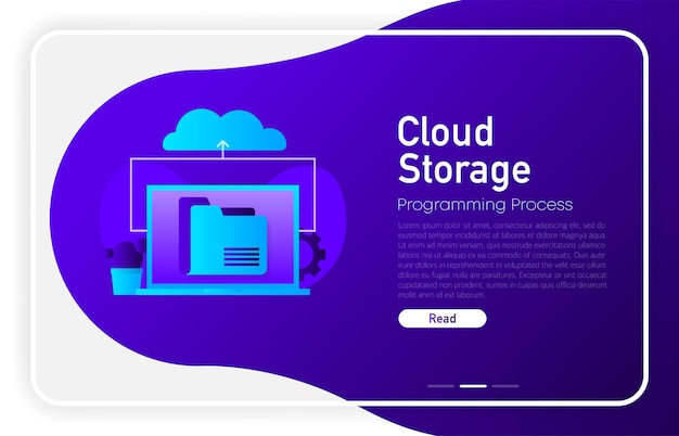 Cloud storage concept on dark gradient laptop with envelope open email and message on screen
