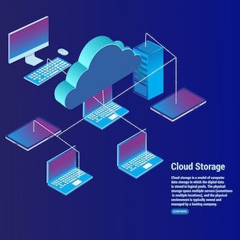 Cloud storage concept data transfer