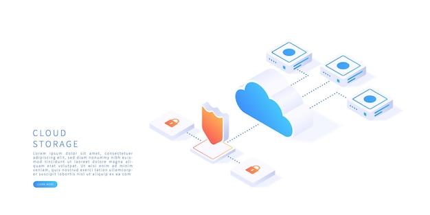 等尺性ベクトル図のクラウドストレージの概念データ転送を備えたデジタルサービスまたはアプリデジタルサーバーデータベースとクラウドコンピューティングサービスベクトル図
