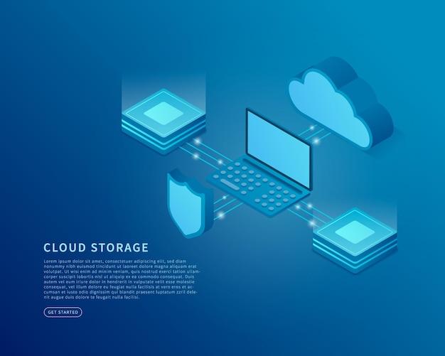 Концепция облачного хранилища в изометрической векторной иллюстрации цифровая служба или приложение с передачей данных база данных цифрового сервера и служба облачных вычислений векторная иллюстрация