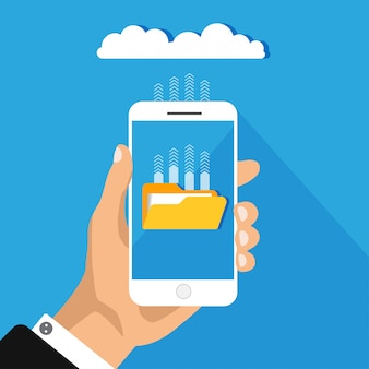青色の背景に分離されたクラウドストレージの概念。クラウドにファイルをアップロードして携帯電話を保持します。ダウンロードプロセス