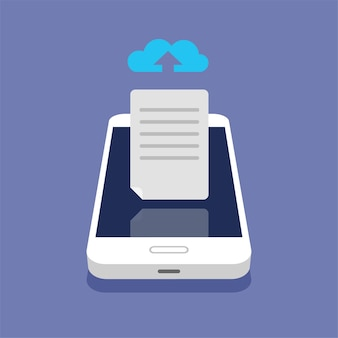 Концепция облачного хранилища. выгрузка файлов в облачное хранилище на изометрическом смартфоне. процесс загрузки.
