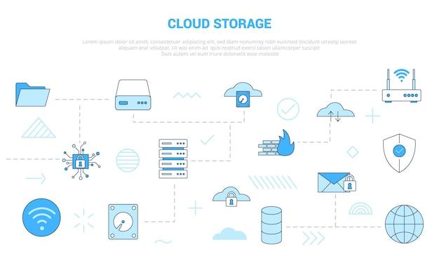 Концепция облачного хранилища с набором иконок, шаблон баннера с современной синей цветовой стилистической векторной иллюстрацией
