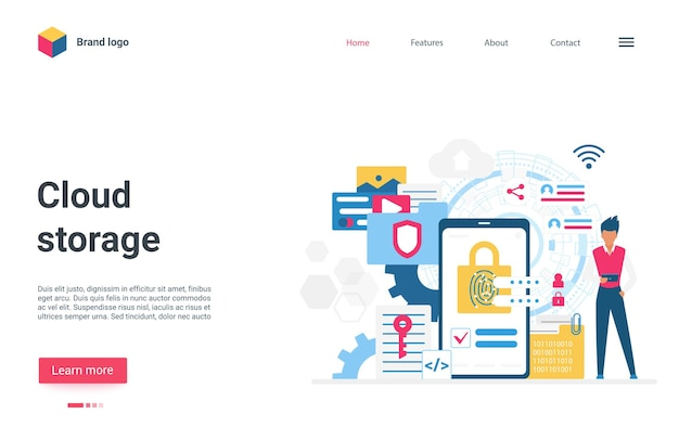 Cloud storage cyber protection concept landing page cybersecurity digital technology