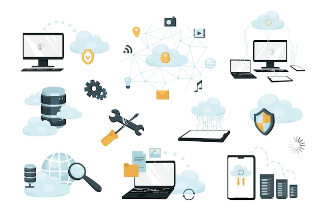 Cloud storage design elements set. collection of data transfer, computing, internet protection, networking, server racks, data center. vector illustration isolated objects in flat cartoon style