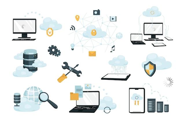 クラウドストレージの設計要素セット。データ転送、コンピューティング、インターネット保護、ネットワーキング、サーバーラック、データセンターのコレクション。ベクトルイラストフラット漫画スタイルでオブジェクトを分離しました