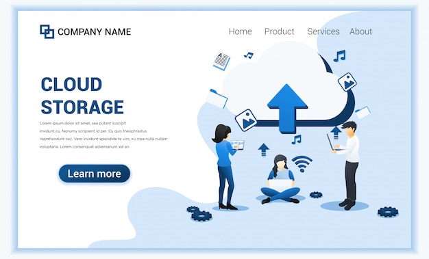 Cloud storage, digital storage, data center and digital network concept with characters.