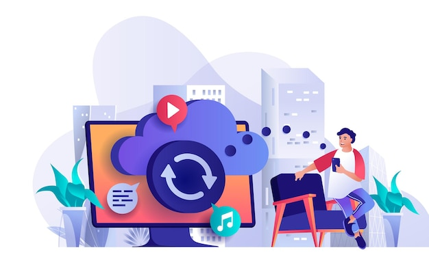 Cloud storage flat design concept illustration of people characters