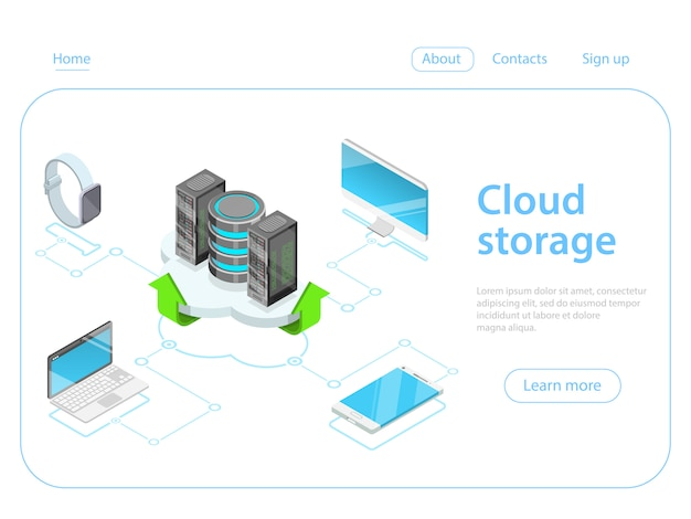 Cloud storage flat isometric vector concept.