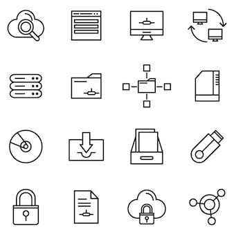 Cloud storage icon pack, outline icon style