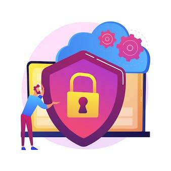 Идея облачного хранилища. онлайн-вычисления. интернет-база данных, резервный сервер. оборудование для программирования. ограниченный доступ, пропуск контроля, настройки приватности. изолированная концепция метафоры иллюстрации